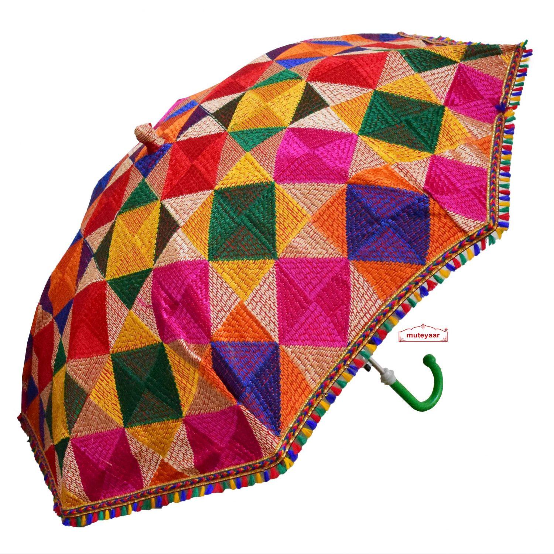 Multicolour Parantha Phulkari Umbrella Chhatri UMB06 1
