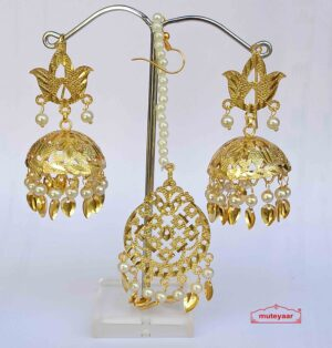 Golden Punjabi Jhumki Tikka Set J0532
