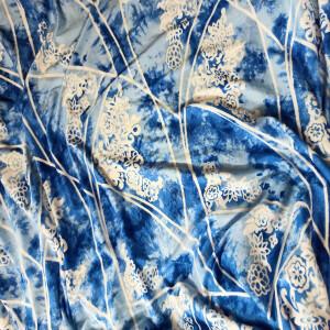 Blue White Printed Hosiery Fabric Drapy Dress Material HF015