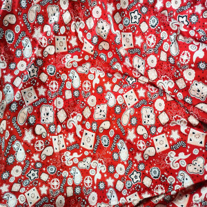 Red Printed Hosiery Fabric Lycra Cotton Mix Cloth 65 inch wide HF018