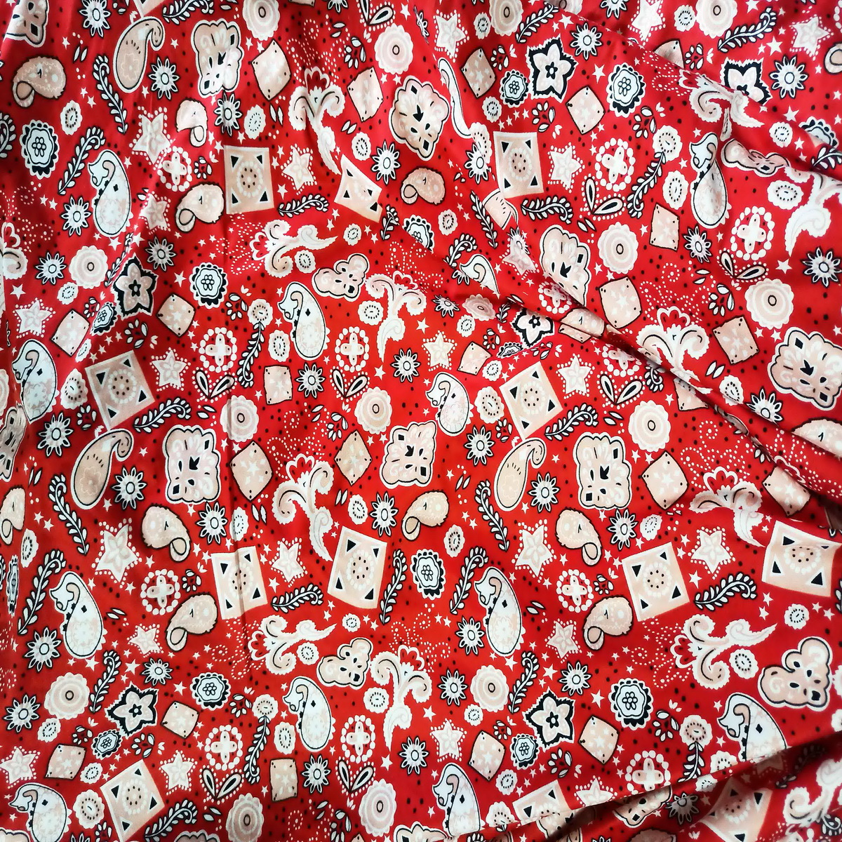 Red Printed Hosiery Fabric Lycra Cotton Mix Cloth 65 inch wide HF018 1