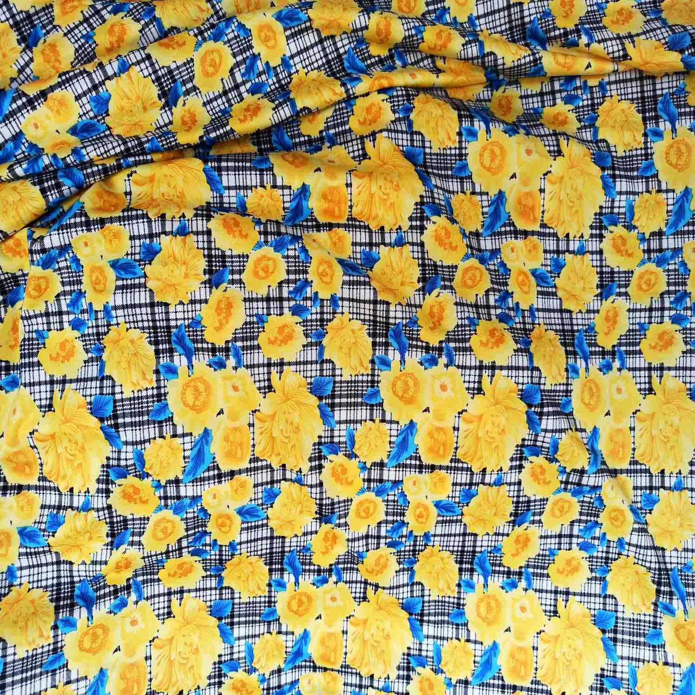 Yellow Floral Design Hosiery Fabric 65 inch wide cloth HF025 1