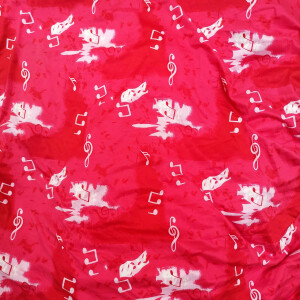 Soft Skin Friendly Red Music Design Hosiery Fabric HF029