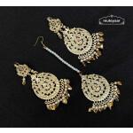 Golden Earrings Tikka Set With Jadau Moti J0533