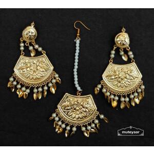 Gold Polished Punjabi Earrings Tikka set with white beads J0535