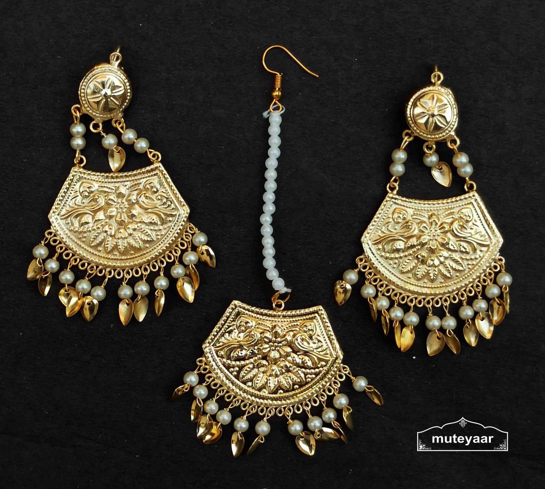 Gold Polished Punjabi Earrings Tikka set with white beads J0535 1