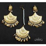 Gold Polished Traiangular Earrings Tikka set J0536