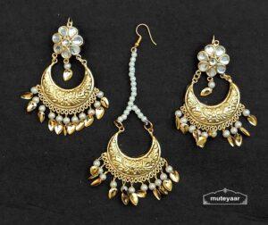 Chandrama Design Tikka Earrings Set With Kundan J0538