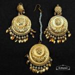 Gold Polished Round Earrings Tikka set J0540