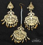 Golden Punjabi Tikka Earrings Set J0541