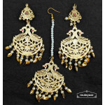 Golden Punjabi Tikka Earrings Set J0541
