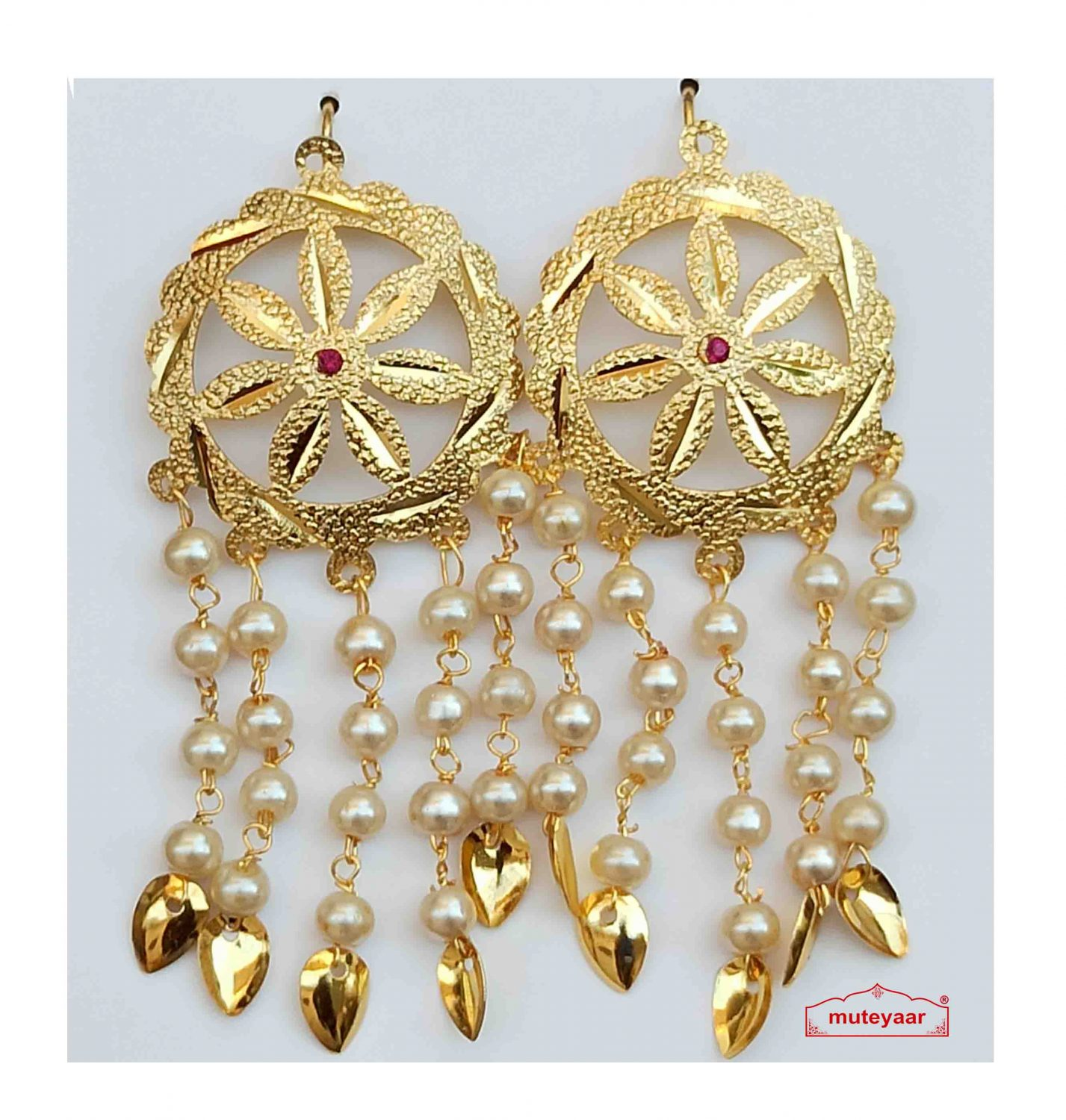 Punjabi Jhallar Earrings with Golden Polish J0542 1