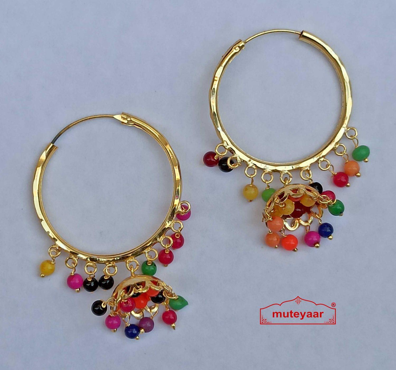 Multicolour Earrings Punjabi Bali J0543 1