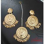 Gold Plated Big Tikka Earrings Set J0552
