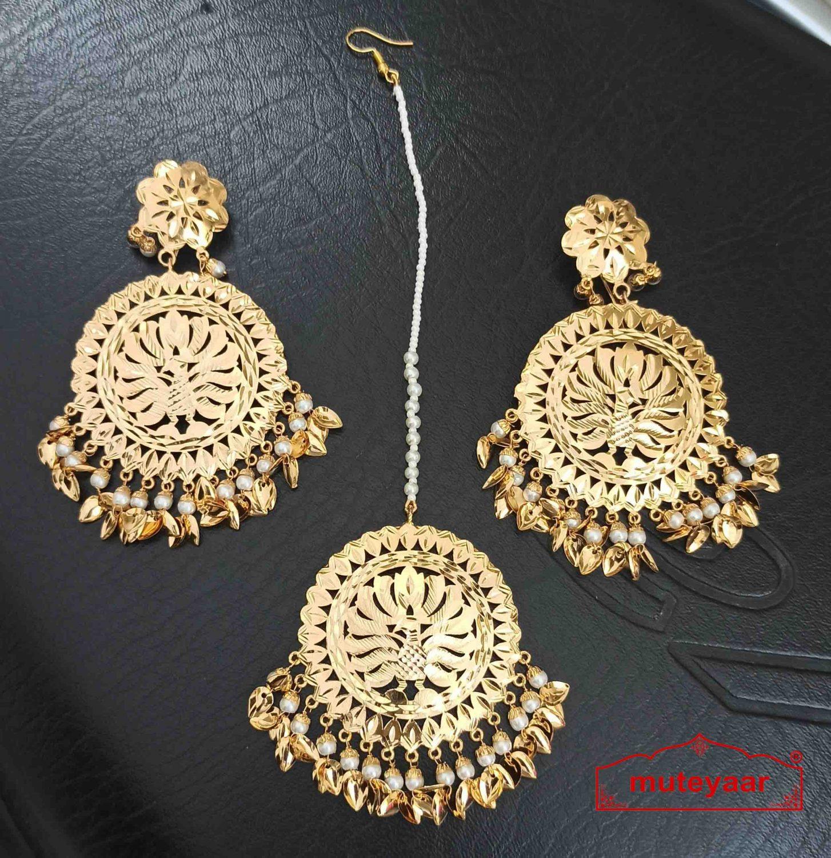 Gold Plated Big Tikka Earrings Set J0552 1