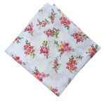 Red Flowers on White Base Pure Cotton Fabric Dress Material PC515