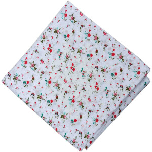 Small Flowers on White Soft Pure Cotton Fabric PC516