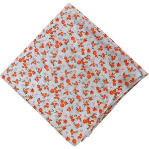 Orange Flowers Printed Fabric 100% Pure Cotton PC517