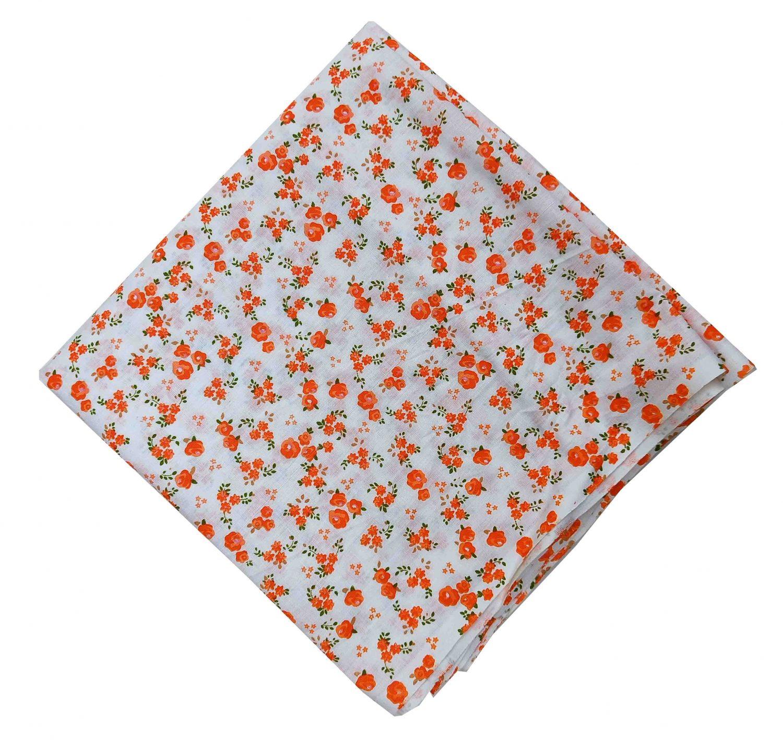 Orange Flowers Printed Fabric 100% Pure Cotton PC517 1