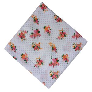 Pink Flowers on White Base Printed Cotton Fabric PC520