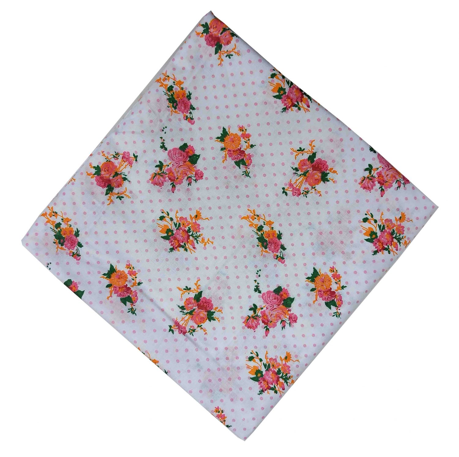 Pink Flowers on White Base Printed Cotton Fabric PC520 1