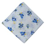 Blue Flowers White Cotton Fabric Soft Skin Friendly Dress Material PC523