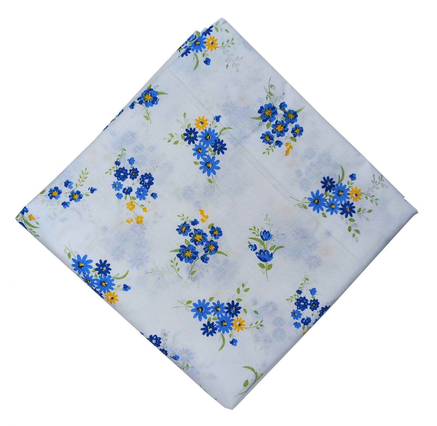 Blue Flowers White Cotton Fabric Soft Skin Friendly Dress Material PC523 1