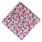 Red Blue Printed Floral Design Cotton Fabric PC531