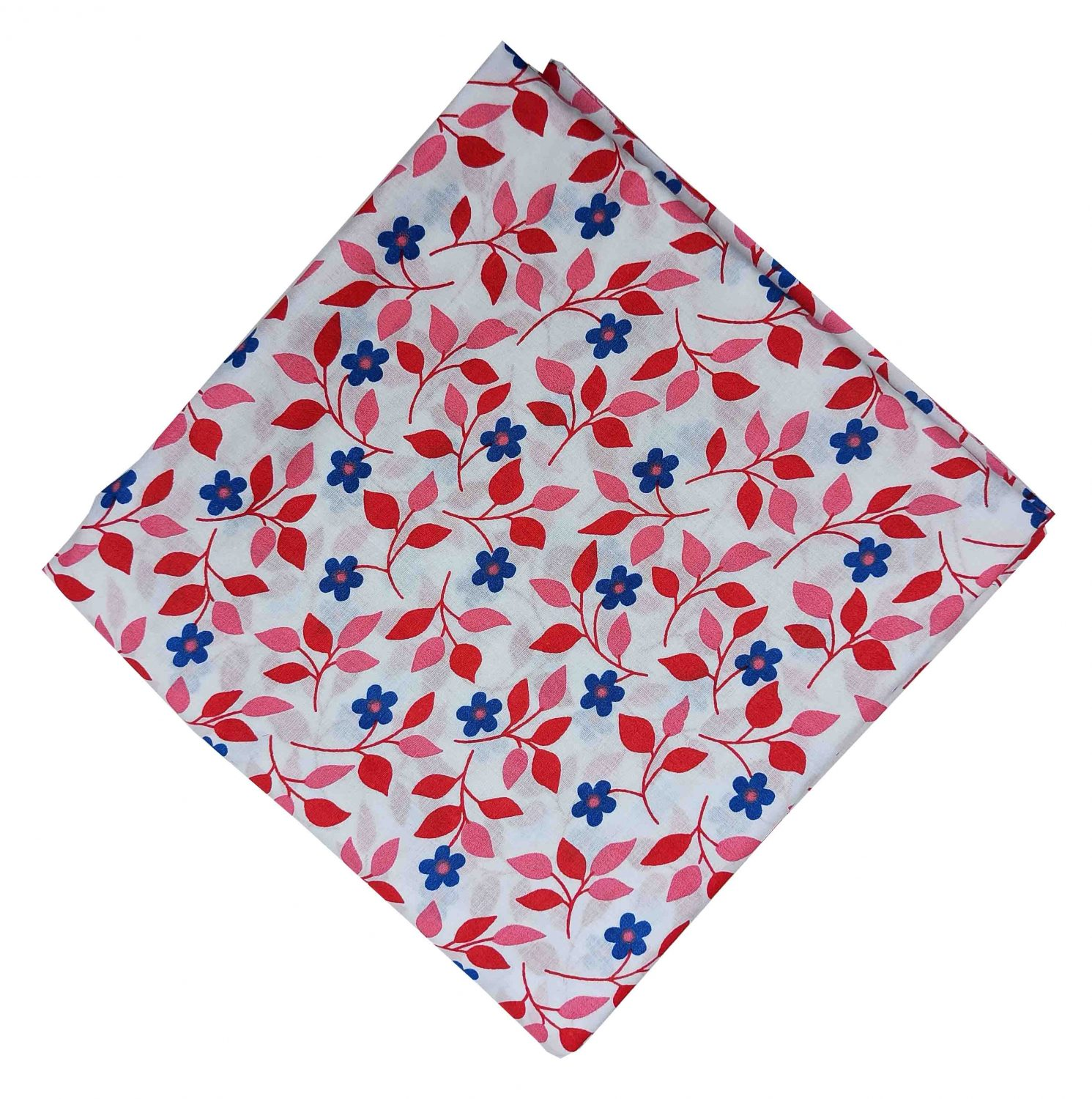 Red Blue Printed Floral Design Cotton Fabric PC531 1