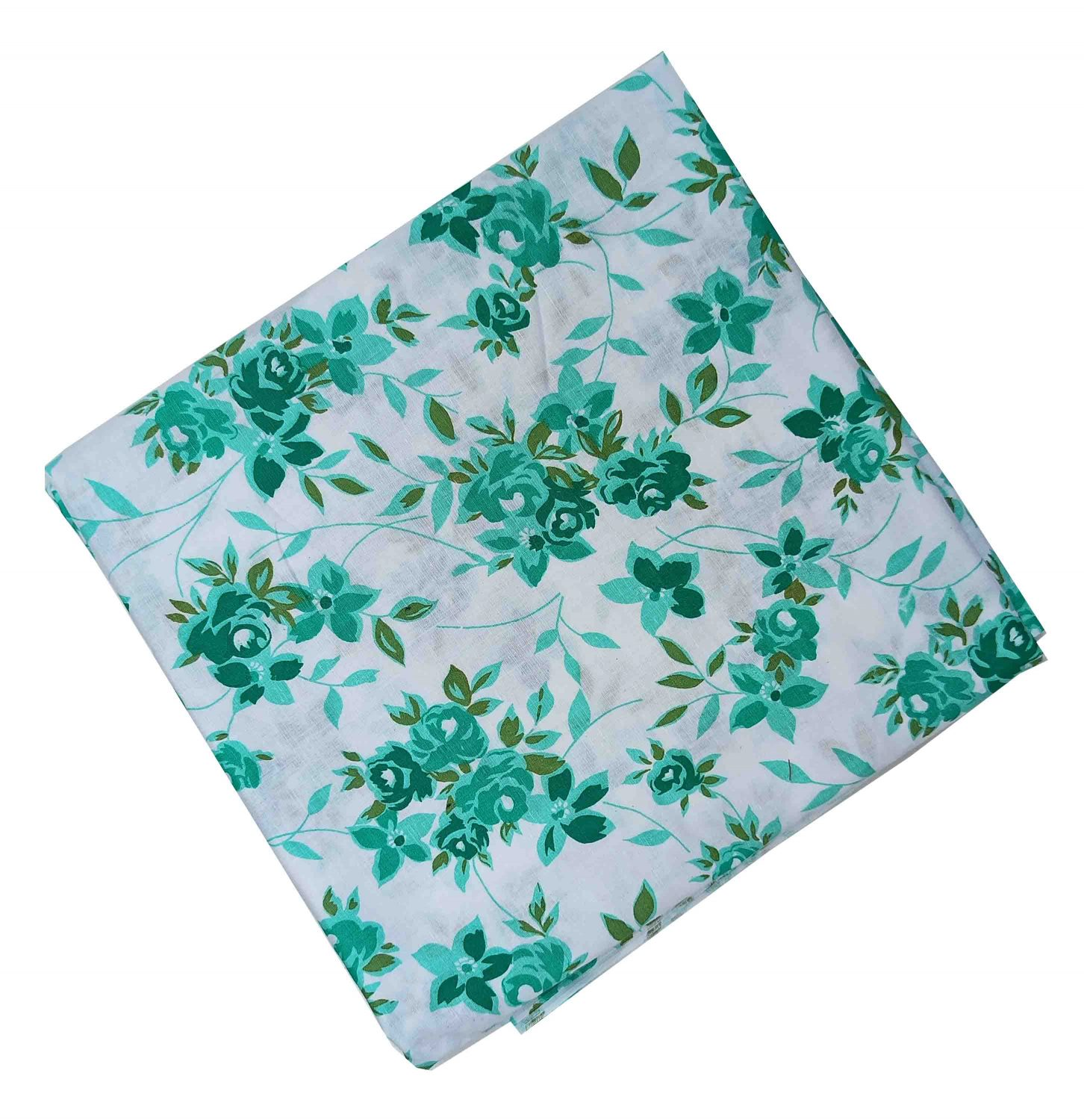 Green Floral Design Pure Cotton Fabric PC533 1