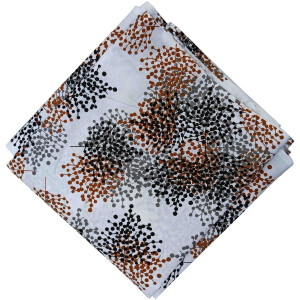 Brown Black Print on White Base Cotton Fabric PC540