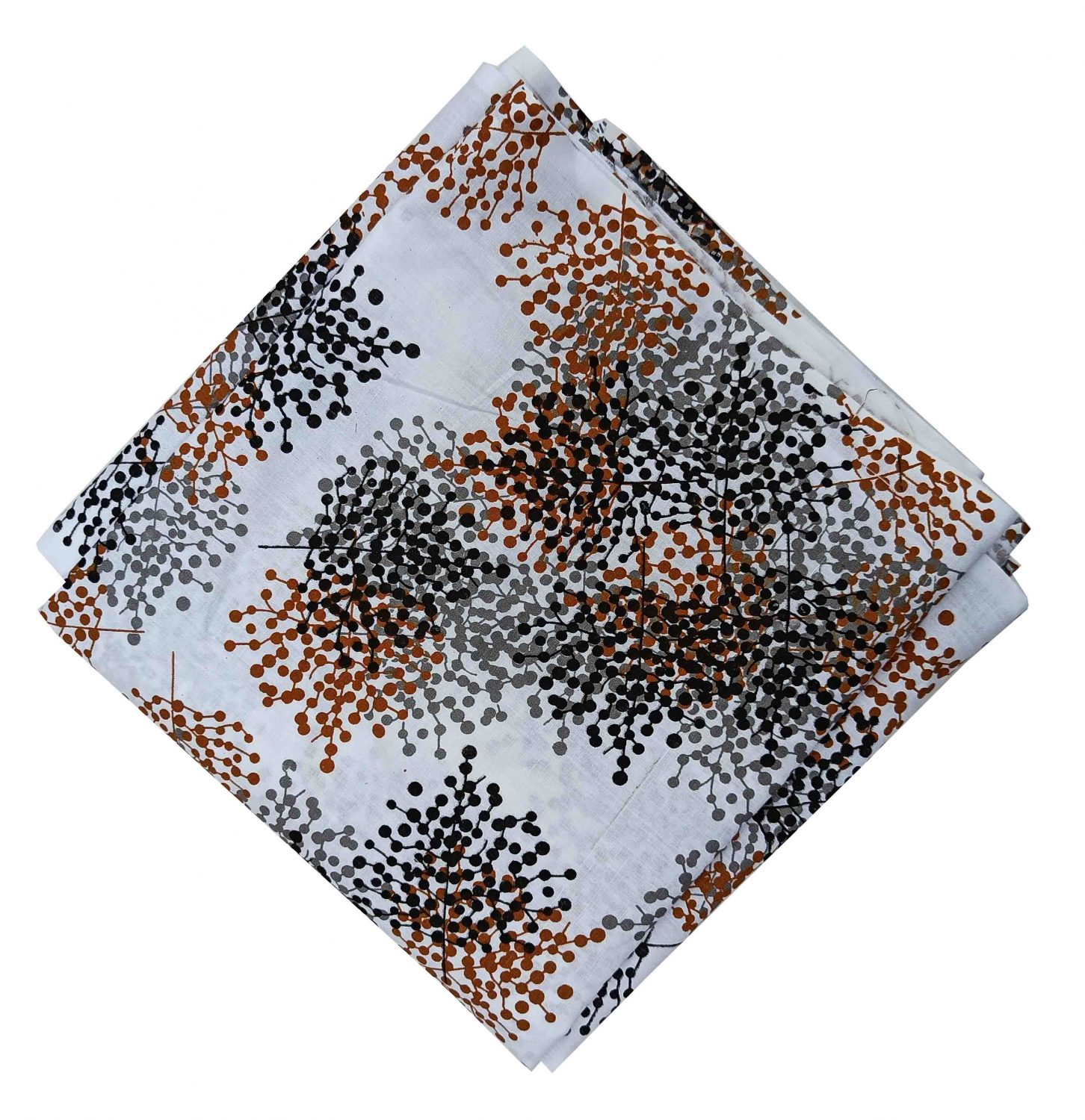 Brown Black Print on White Base Cotton Fabric PC540 1