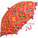 Red Phulkari Umbrella for Punjabi Wedding UMB03