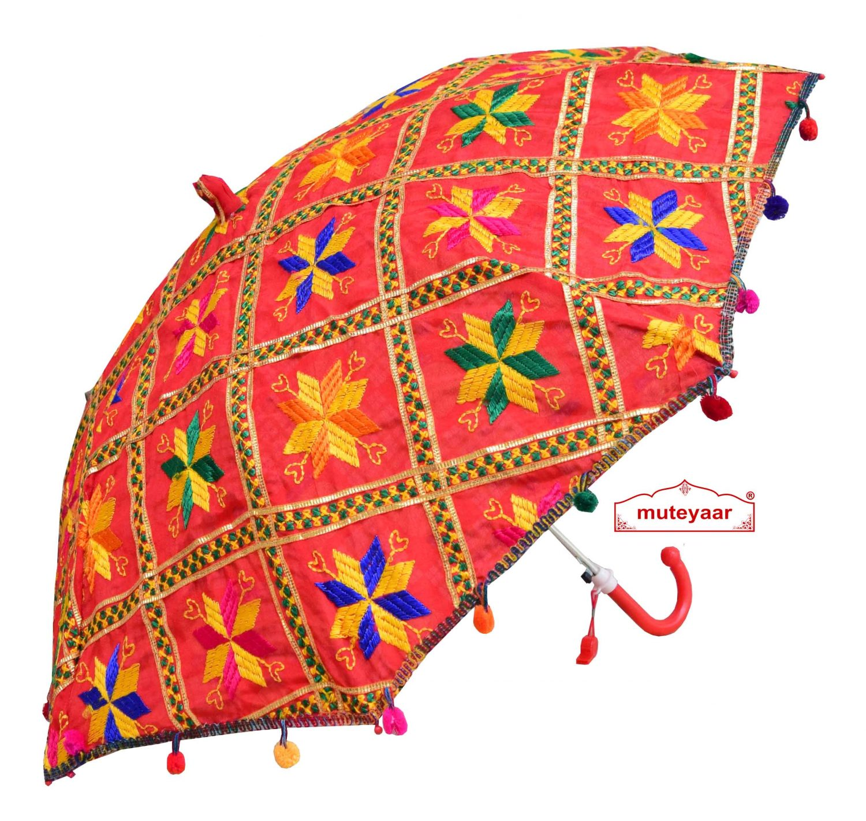 Red Phulkari Umbrella for Punjabi Wedding UMB03 1