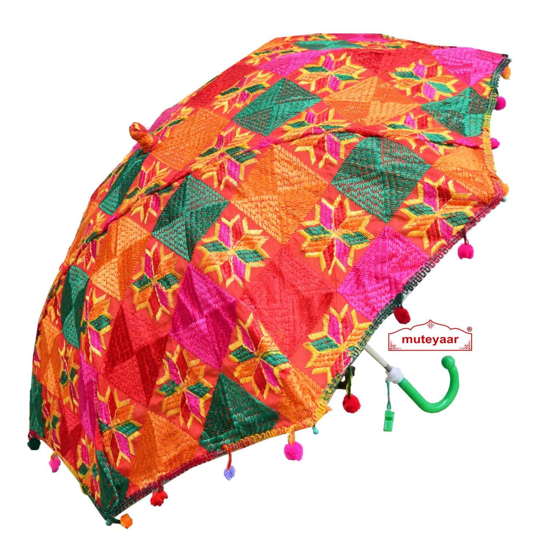 Multi Colour Phulkari Umbrella Decorative Chhatri UMB05 1