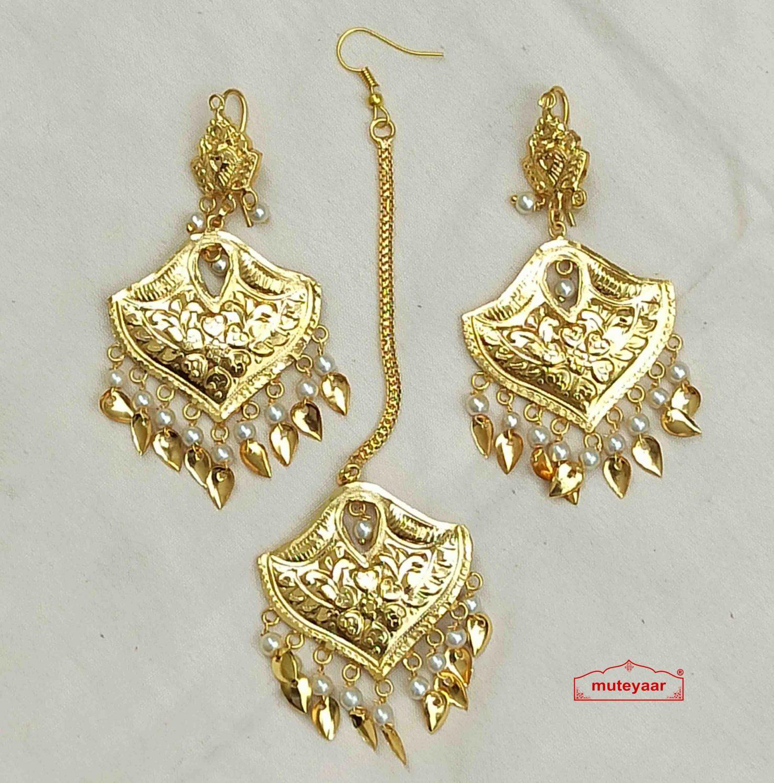 Designer Earrings Tikka Set Punjabi Jewellery J0544 1