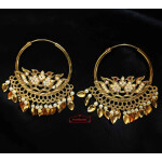 White Moti Morni Bali Earrings Punjabi Jewellery J0548