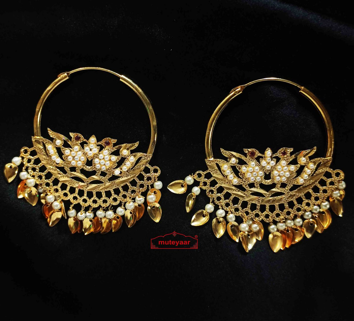 White Moti Morni Bali Earrings Punjabi Jewellery J0548 1