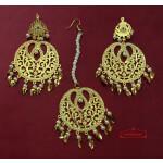 Golden Jadau Tikka Set Punjabi Jewellery J0550
