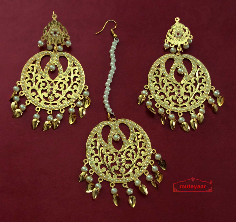 Golden Jadau Tikka Set Punjabi Jewellery J0550 1