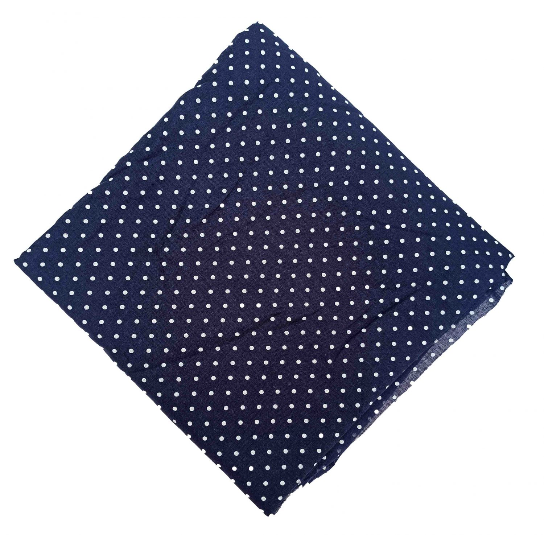 Dark Blue Polka Dots Print Cotton Fabric PC547 1