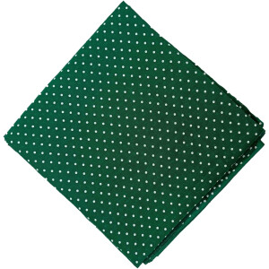 Dark Green Polka Dots Printed Cotton Fabric Cutpiece PC551