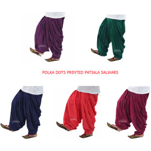 Polka Dots Print Patiala Salwar made with Pure Cotton – Many Colours Available