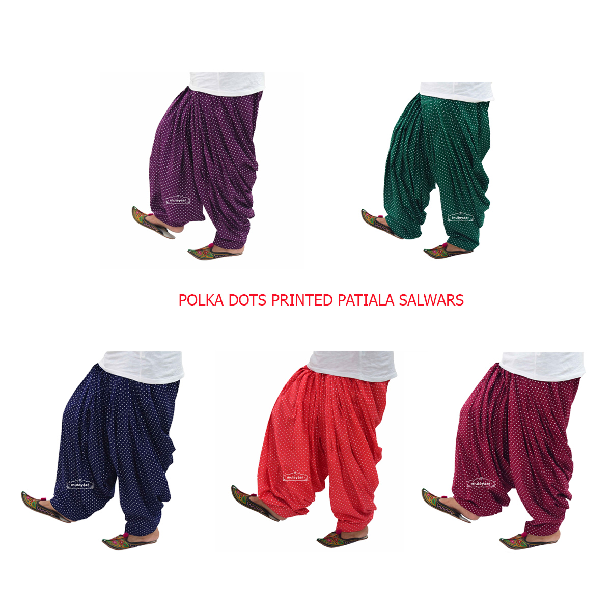 Polka Dots Print Patiala Salwar made with Pure Cotton - Many Colours Available 1