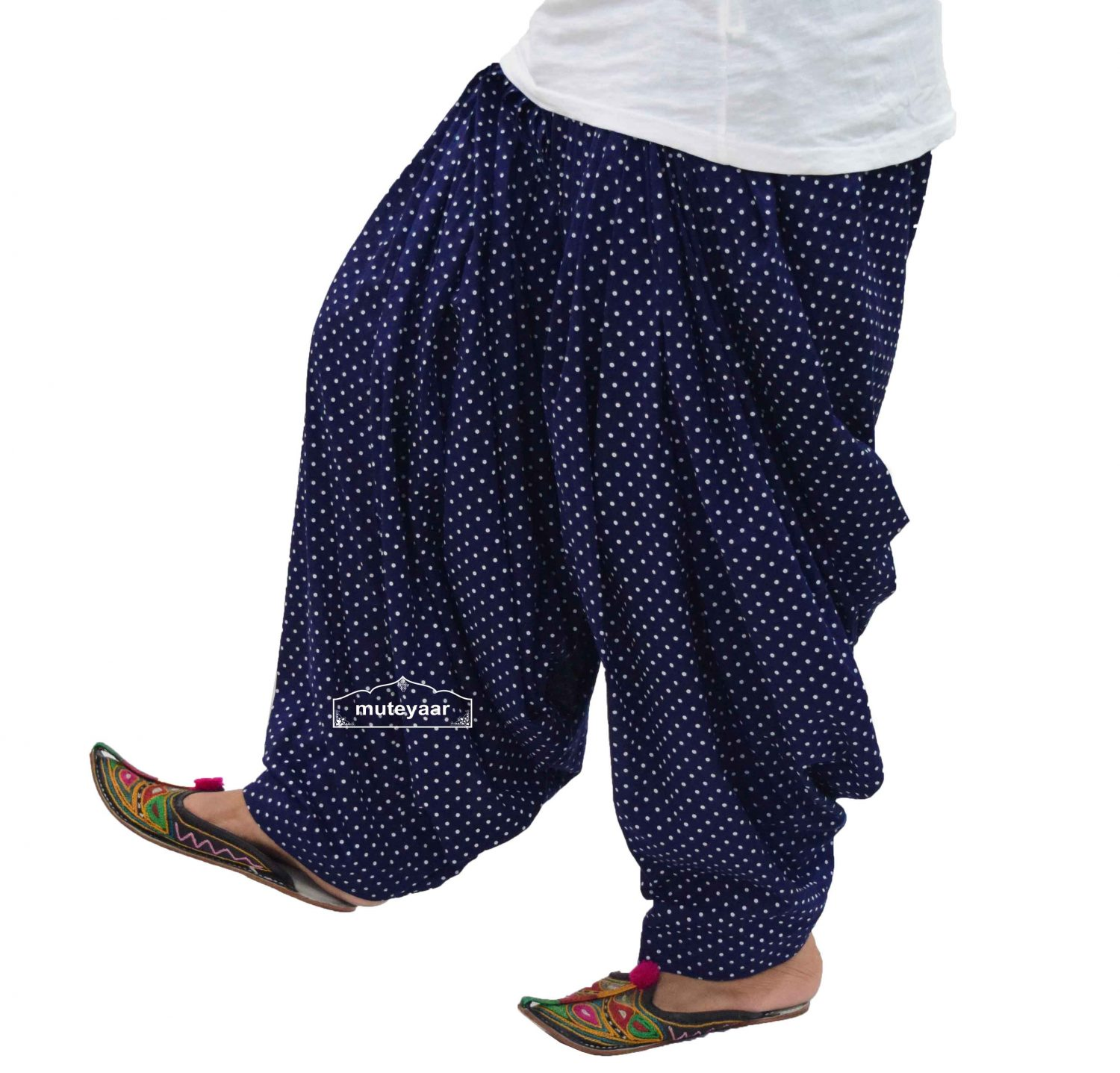 Polka Dots Print Patiala Salwar made with Pure Cotton - Many Colours Available 6