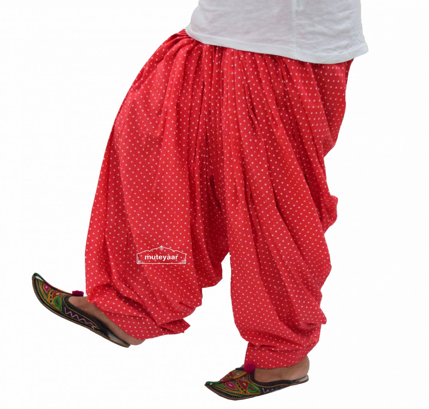 Polka Dots Print Patiala Salwar made with Pure Cotton - Many Colours Available 4