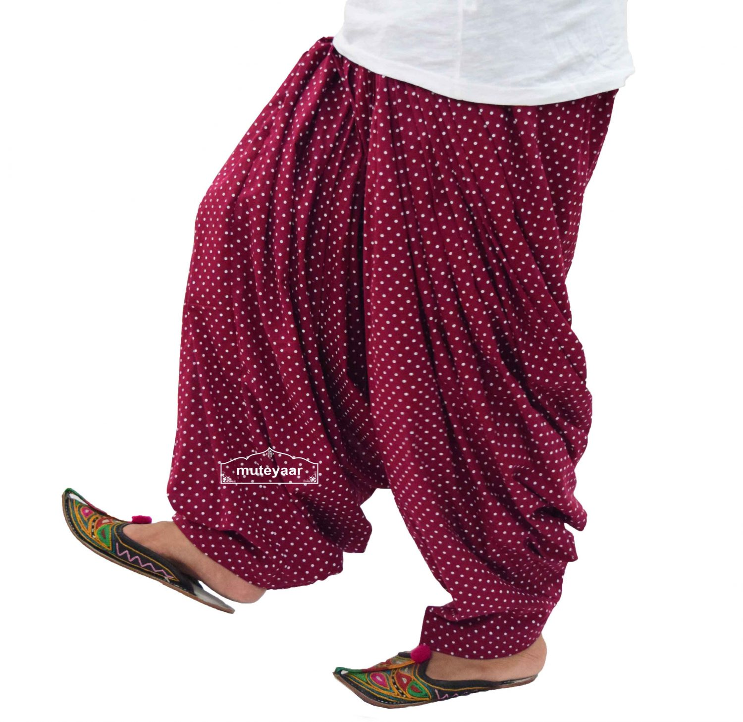 Polka Dots Print Patiala Salwar made with Pure Cotton - Many Colours Available 3