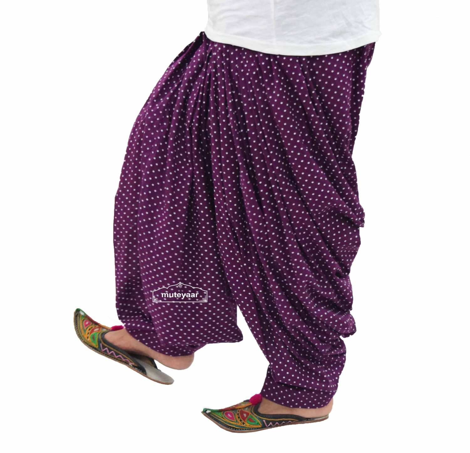 Polka Dots Print Patiala Salwar made with Pure Cotton - Many Colours Available 2