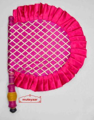 Magenta Punjabi Pakhi Gota Patti Hand Fan T0220