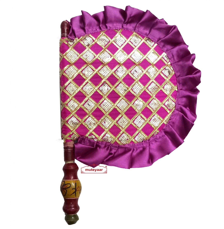Sequins Embellished Magenta Hand Fan T0267 1